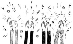Illustration of Hands Raised